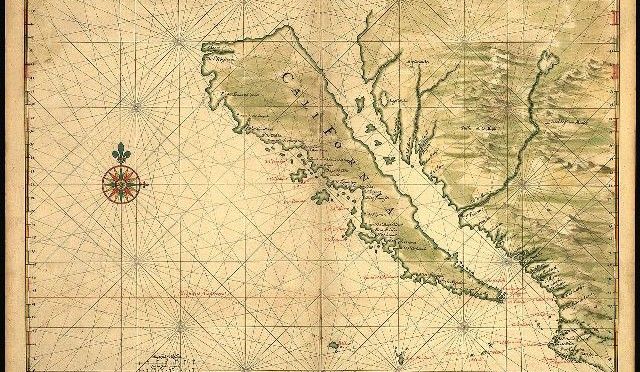 Map of California as an island, circa 1650. Public domain due to age.