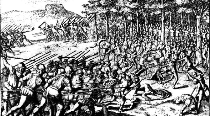 Ilustración de Gerónimo de Bibar en su Crónica y relación copiosa y verdadera de los reynos de Chile.